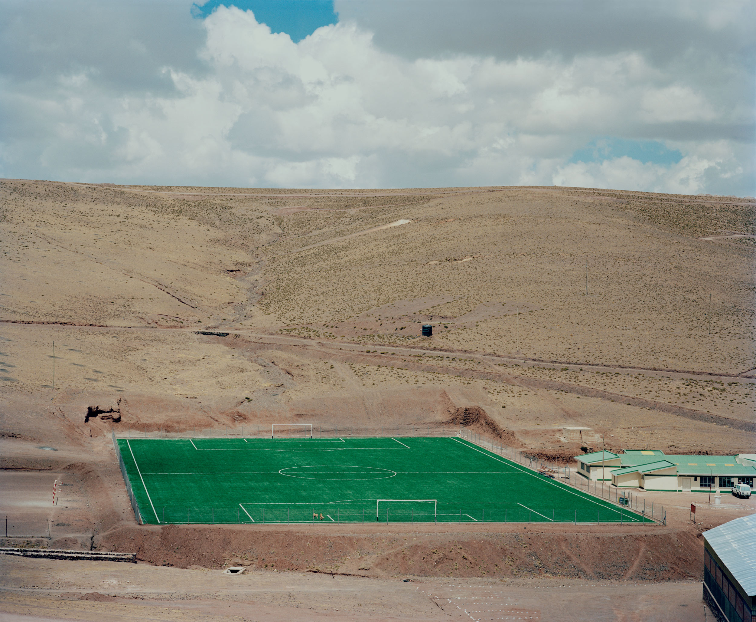 Artificial football field built by Pan American silver mining company for its staff that work at the remote San Vincente.