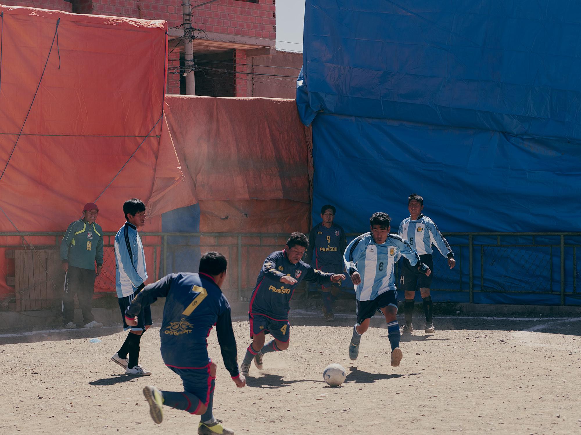 Bolivian kids playing football